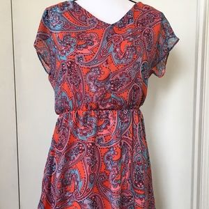 The Limited m paisley dress bright open back
